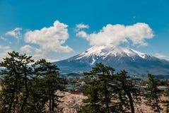 Den monteringsIwaki sikten från den Hirosaki slotten parkerar Royaltyfria Bilder