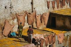 Morrocan man - Fes tannery Royaltyfri Fotografi