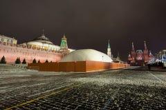 Den Moscow mausoleumen av den revolutionära ledare Vladimir Lenin ska stänga sig för fyra månader av renovati Arkivbild
