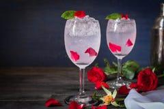 Den mousserande kallt vattendetoxen med rosen och is p? tr?tabellen d?r ?r rosa, samma objekt och shaker som omkring f?rl?ggas royaltyfri foto