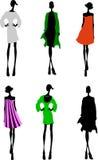 den märkes- modeflickasilhouetten skissar Royaltyfri Foto