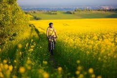 Den Mtb cyklisten cyklar Fotografering för Bildbyråer
