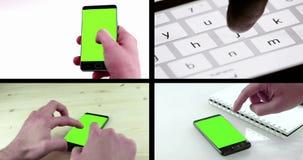 Den Multiscreen platsen med mannen räcker genom att använda en smart telefon för skriver textmessaging med chromatangent lager videofilmer