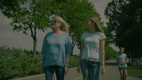 Den Multl utvecklingsfamiljen som promenerar sommar, parkerar stock video