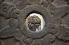 Den Museo Dolores Olmedo aztecen skulpterar installationssikt igenom Royaltyfria Foton