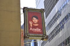 Den musikaliska Amelie Signboard i Manhattan från New York City i Förenta staterna royaltyfri bild