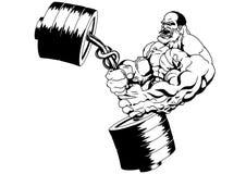 Den muskulösa kroppsbyggaren böjer vikten Arkivbild