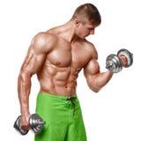 Den muskulösa mannen som utarbetar att göra, övar med hantlar på biceps, stark manlig naken torsoabs som isoleras över vit bakgru Arkivbilder