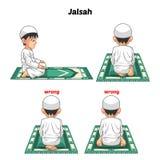 Den muslimska bönpositionshandboken utför stegvis vid pojken Arkivfoton