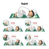 Den muslimska bönpositionshandboken utför stegvis vid Prostrating för pojke och positionen av foten med fel position Arkivbild