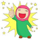 Den muslimska flickavisningen tummar upp Royaltyfri Foto