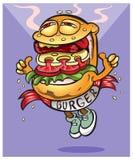 Den mycket smakliga gladlynta hamburgaren går till dig Arkivbilder