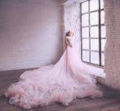 Den mystiska attraktiva gravida flickan poserar för kameran i ett ljust rum nära ett enormt fönster, en delikat frisyr och a royaltyfri fotografi