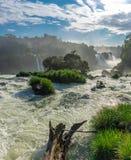 Den nära sikten av en av det Cataratas vattnet faller Royaltyfria Foton
