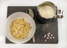 Den näringsrika frukosten av havremjölet med frukt och mjölkar på en svart s Royaltyfri Fotografi