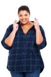 Bra lycka för överviktig kvinna Royaltyfria Foton
