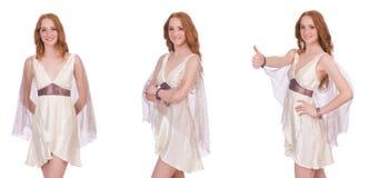 Den nätta damen i den ljusa charmiga klänningen som isoleras på vit Royaltyfria Bilder
