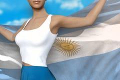 Den nätta flickan i ljus kjol rymmer den Argentina flaggan i händer bak hennes baksida på bakgrunden för molnig himmel - flaggabe stock illustrationer