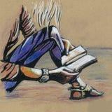 Den nätta flickan läser en bok Teckna förbi handen Fotografering för Bildbyråer