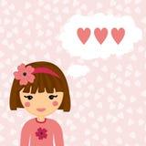 Den nätta flickan tänker om förälskelse för hjärtahjärtor för bakgrund dunkla bilder stock illustrationer