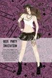 Den nätta flickan vaggar in stil för partiinbjudan som den designpretty flickan vaggar in stil för partiinbjudandesign Royaltyfria Bilder