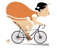 Den nätta fylliga unga kvinnan rider en cykelillustration royaltyfri illustrationer