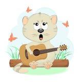 Den nätta kattungen sjunger en gitarr Royaltyfri Fotografi