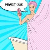 Den nätta kvinnan i badruminnehavdusch stelnar applicera genomskinlig fernissa för omsorgshud Illustration för popkonst royaltyfri illustrationer
