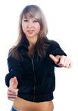 Den nätta kvinnan med tummar gör en gest upp Royaltyfri Bild