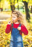 Den nätta lilla flickan har gyckel i parkera, hösttid royaltyfri bild
