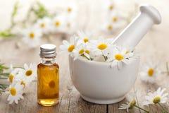 Den nödvändiga olja och camomilen blommar i mortel Arkivfoton