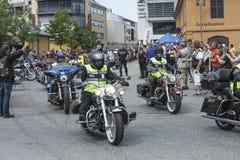 Den nationella GÖDSVINET samlar Halden, Norge 12 till 15 Juni 2014 (cykelrunn Fotografering för Bildbyråer