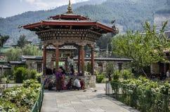 Den nationella minnes- Chortenen som lokaliseras i Thimphu, huvudstaden av Bhutan Royaltyfria Foton