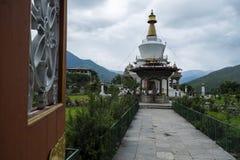 Den nationella minnesmärken chorten i thimphu, Bhutan arkivbild