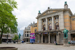 Den nationella teatern i Oslo är en av störst Norge ` s och mest royaltyfri bild