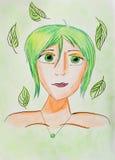 Den naturliga kvinnan - räcka teckningsståenden med sidor Arkivfoton