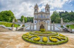 Den neoclassical basilikan av Bom Jesus gör Monte i Braga, Portugal arkivbild