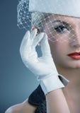 den netto hatten skyler den vita kvinnan royaltyfria foton