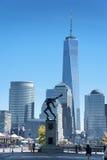 Den New York City horisonten från Liberty State Park Arkivfoto