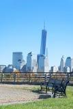 Den New York City horisonten från Liberty State Park Royaltyfri Fotografi