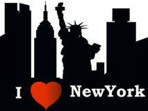 Den New York City konturn älskar jag NY royaltyfri illustrationer