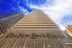 Den New York Times dagstidningbyggnaden i midtownen Manhattan Arkivbild