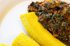 Den nigerianska kokta pisanget tjänade som med en kryddig grönsaksås Royaltyfria Foton