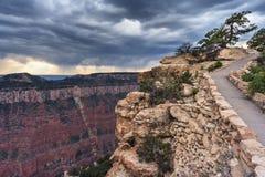 Den nordliga kanten av Grand Canyon från lockkunglig person och Walhalla förbiser Arizona USA Arkivbild