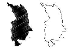 Den nordliga regionen Malawi Republiken Malawi, regioner av Malawi, för översiktsvektor för administrativa uppdelningar illustrat vektor illustrationer