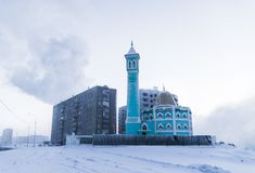 Den nordligast moskén i Norilsk, rysk federation Arkivfoton