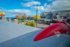DEN NORR ÖN, NYA SJÄLLAND MAY 18, 2017: Panoramautsikt från den fantastiska nivån DC3 som delen av den McDonald `en s som lokalis Royaltyfri Bild