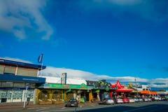 DEN NORR ÖN, NYA SJÄLLAND MAY 18, 2017: Taupo är en stad på kusten av sjön Taupo i mitten av den norr ön av Arkivfoton
