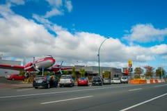 DEN NORR ÖN, NYA SJÄLLAND MAY 18, 2017: Taupo är en stad på kusten av sjön Taupo i mitten av den norr ön av Arkivbild