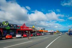 DEN NORR ÖN, NYA SJÄLLAND MAY 18, 2017: Taupo är en stad på kusten av sjön Taupo i mitten av den norr ön av Royaltyfria Bilder